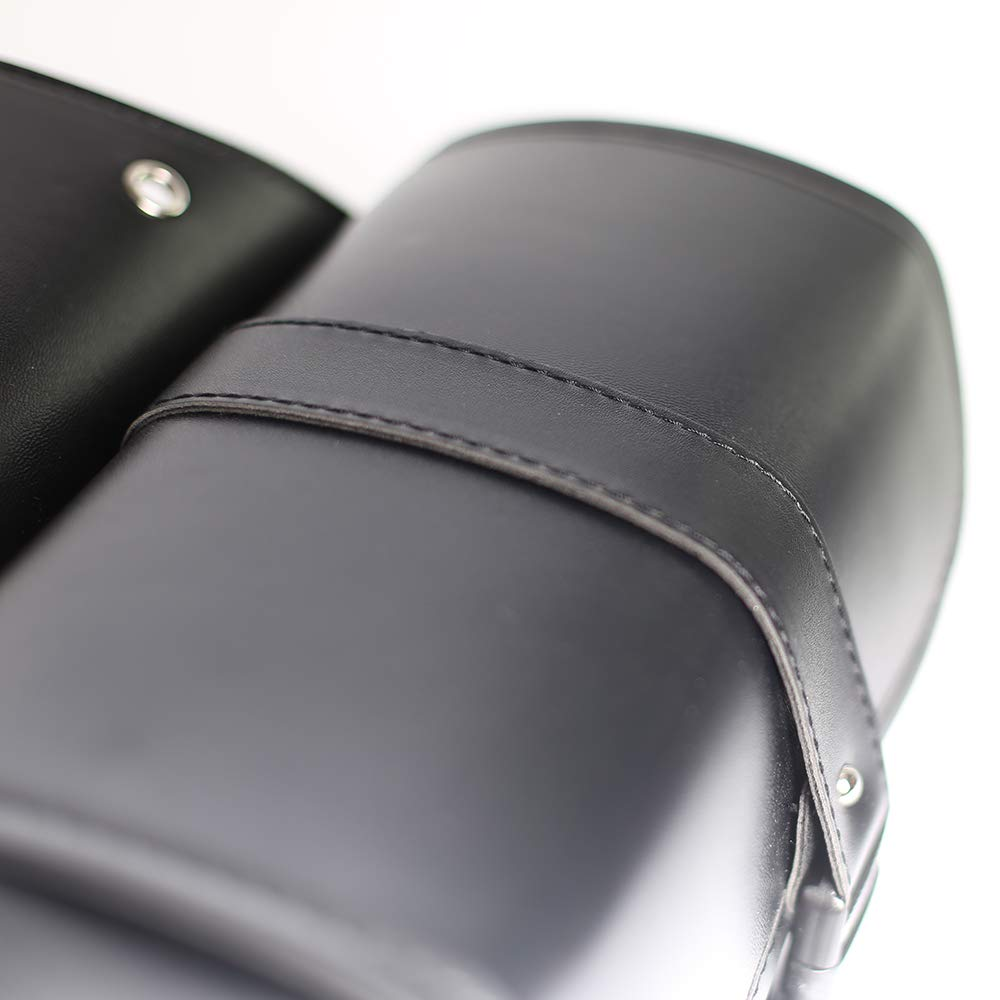 Bolsa de sill/ín de la motocicleta Herramienta de cuero de la PU rollo del lado del motor Equipaje de viaje Bolsa de cola con 2 correas de montaje negro