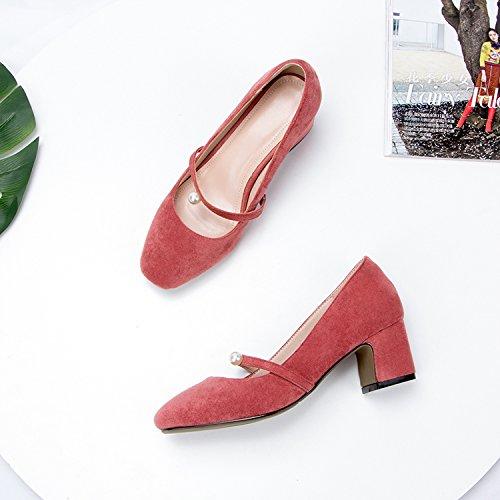 GAOLIM Los Zapatos De Tacón Alto Zapatos De Mujer Muelle Grueso Solo Zapatos Con La Luz Del Four Seasons De Zapatos De Mujer Salvaje Color rojo cereza.