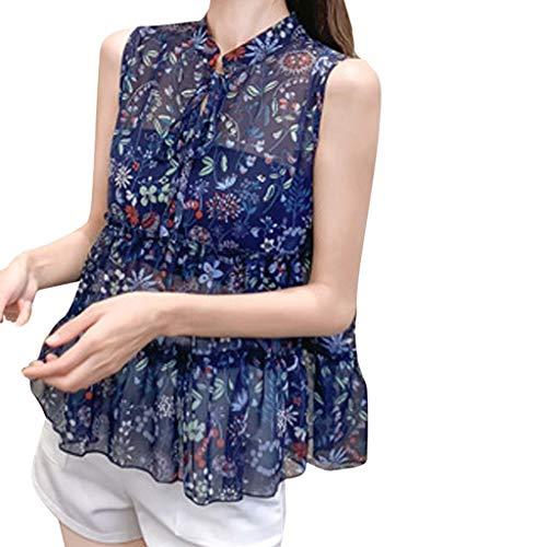 HIRIRI Fashion Women Chiffon Top Vest Printing Sleeveless O-Neck Loose Bandage Keyhole See Through Blouse Blue ()