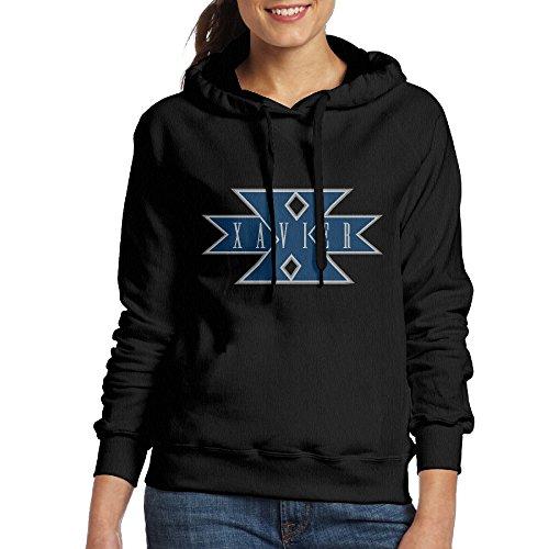 FUOALF Women's Pullover Xavier University Musketeers Hooded Sweatshirt Black XL