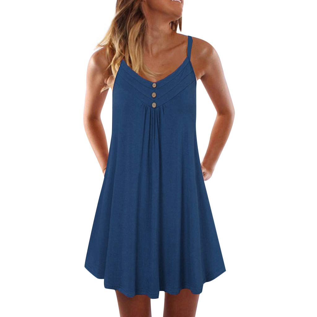 Winsummer Button Tank Dress Women's Summer Sleeveless Casual Loose Swing T-Shirt Dress Blue
