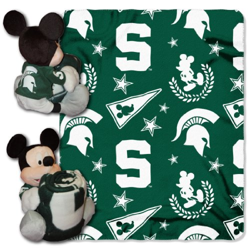 The Northwest Company Officially Licensed NCAA Michigan State Spartans Co-Branded Disney's Mickey Hugger and Fleece Throw Blanket Set Michigan State Fleece Blanket