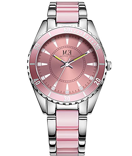 Luxury Women's Quartz Stainless Steel Watch Silver-Tone and Pink Bracelet Crystal Accent Dail Round Waterproof Analog Wrist Watches for Ladies - Stainless Dial Ladies Steel Pink
