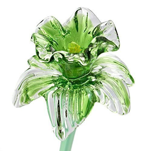 Green Glass Daffodil Flower, One-of-a-kind. Life Size 20