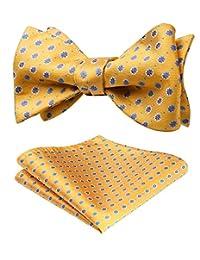 HISDERN Men's Polka Dot Floral Jacquard Wedding Self Bow Tie & Pocket Square Set