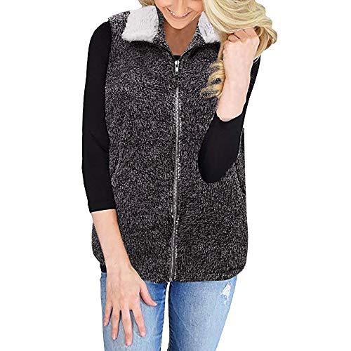 Price comparison product image BETTERUU Womens Vest Winter Warm Outwear Casual Faux Fur Zip Up Sherpa Jacket