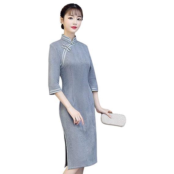 Haodasi Damen Vintage Chinesischer Cheongsam Wildleder