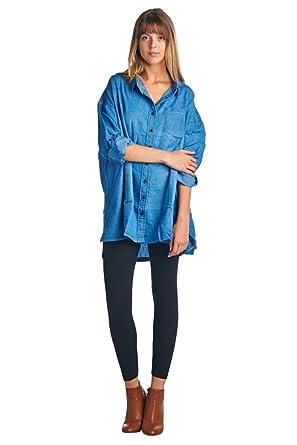 7031d3507776b BLUE AGE Womens Chambray Over Size Boyfriend Style Denim ButtonDown Blouse  Shirt M L at Amazon Women s Clothing store