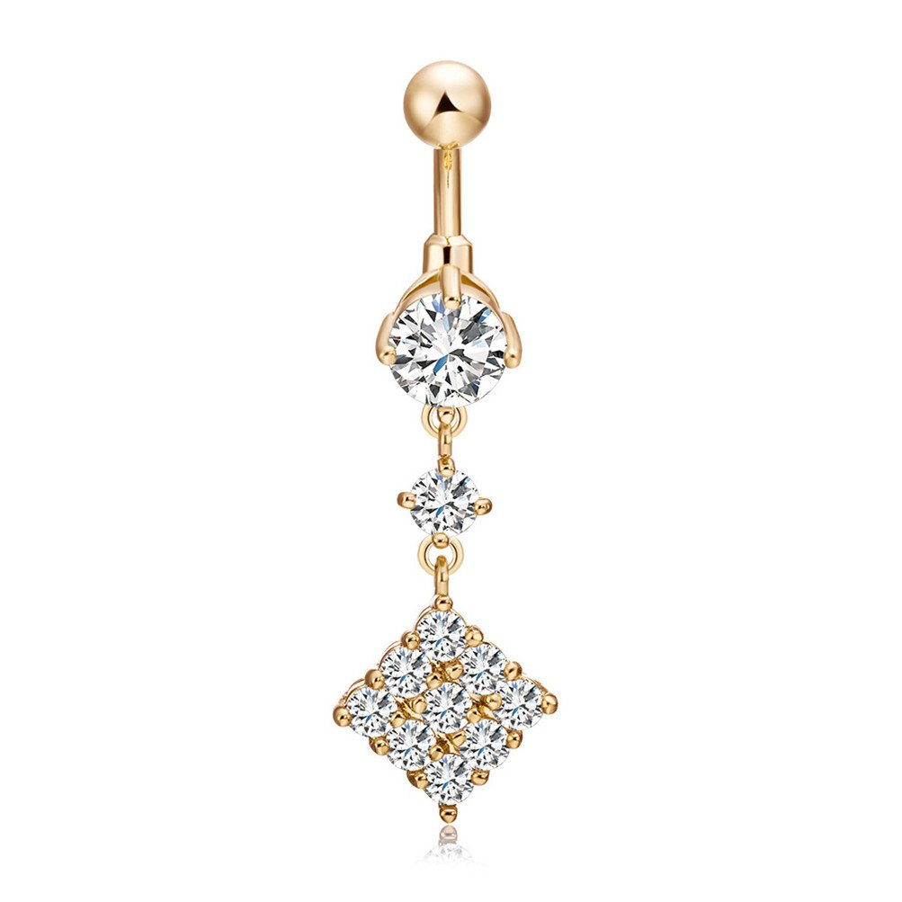 Mrsrui Belly Button Rings Stainless Steel Crystal Rhinestone Belly Navel Ring Body Jewelry Piercing (M)