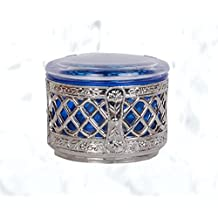 "Indian Handicraft Dry Fruit Box/Decorative Platter/Festive Decor/Wedding Gifts/Decorative Product/Dry Fruits Gift Box/Silver & Blue Colour/Small Size - 3.5"" Dia x 2.5"" Height"