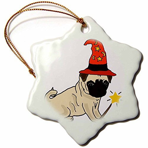 Christmas Ornament All Smiles Art Pets - Funny Cute Pug Dog Wizard Halloween Cartoon - Snowflake Porcelain Ornament -