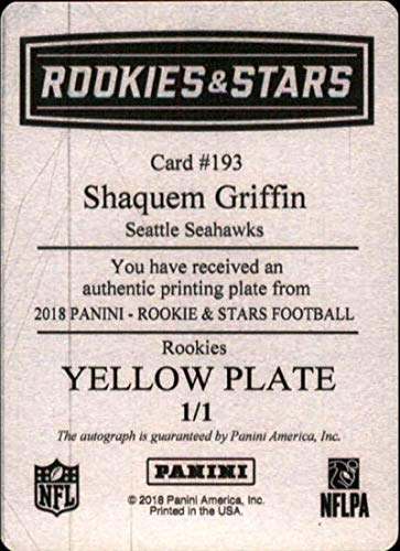 Amazon.com  2018 Panini Rookies and Stars Signature Printing Plate Yellow   193 Shaquem Griffin Rookie RC AUTO Autograph 1 1 Seattle NFL Football  Trading ... e50c5b071