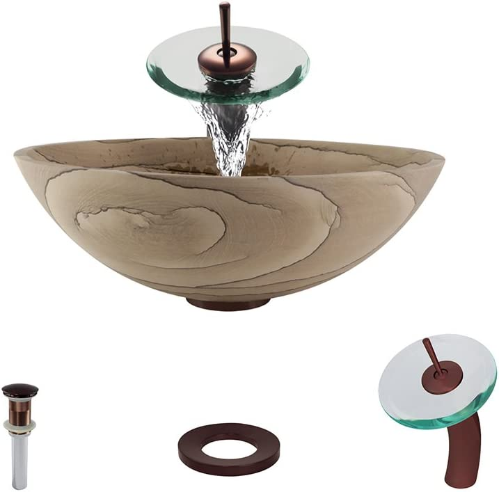 852 Sandstone Vessel Sink Oil Rubbed Bronze Bathroom Ensemble with Waterfall Faucet Bundle – 4 Items Sink, Faucet, Pop Up Drain, and Sink Ring