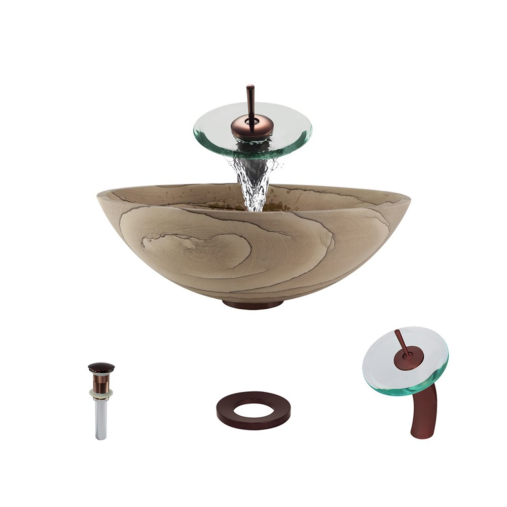 852 Sandstone Vessel Sink Oil Rubbed Bronze Bathroom Ensemble with Waterfall Faucet (Bundle - 4 Items: Sink, Faucet, Pop Up Drain, and Sink Ring) by MR Direct