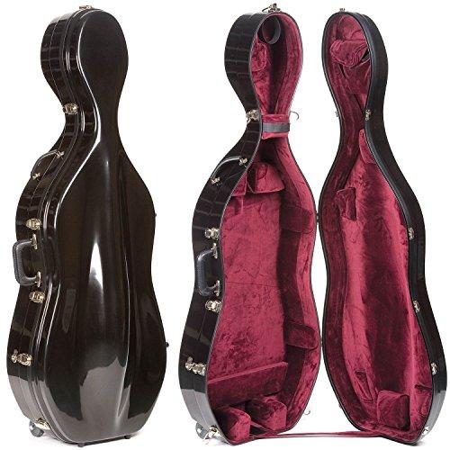 Bobelock 2000W Fiberglass Black/Wine 4/4 Cello Case with Wheels (Bobelock Fiberglass Violin Case)