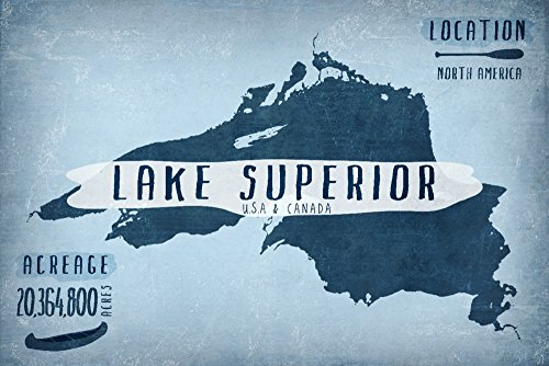 Lake Superior, Wisconsin - Lake Essentials - Shape, Acreage and County (12x18 Art Print, Wall Decor Travel Poster)