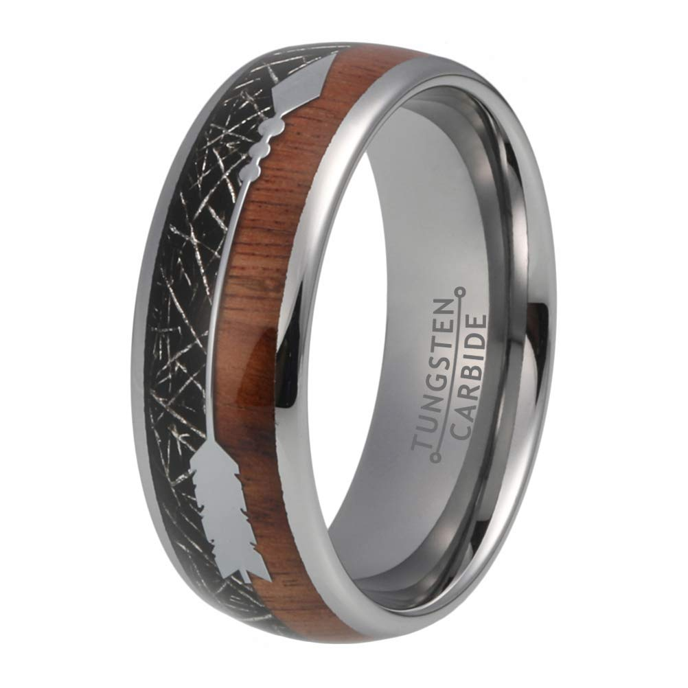 BestTungsten 8mm Tungsten Carbide Rings for Men Women Wedding Bands Koa Wood Black Meteorite Arrow Inlay Comfort Fit