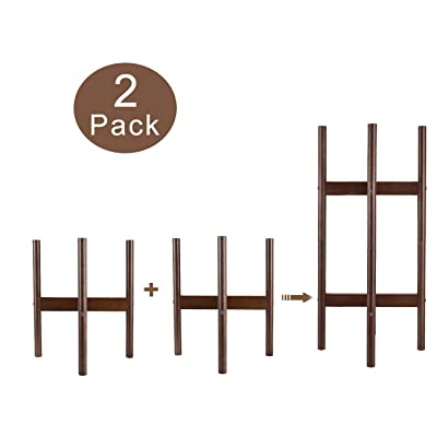 TQVAI 2 Pack Solid Wood Plant Stands Indoor with Scratch-Resistant Foot Pads Outdoor Stackable Tall Mid Century Modern Planter Rack Holder Fits for 8-12 in Pots(Not Included Pot/Plant) - Coffee Brown : Garden & Outdoor