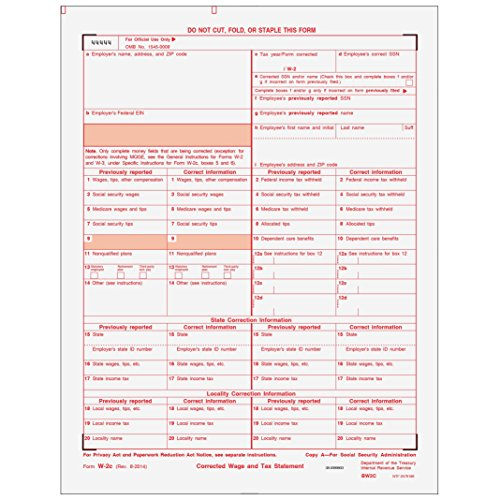 Federal W2 Employee Copy - W-2C Employer Federal Copy A for 50 Employees