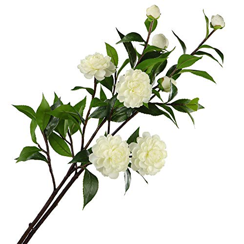 Rinlong 2pcs Artificial Camellia Leaf Branches Silk Flowers Sprays Fake Greenery Stems 37.5