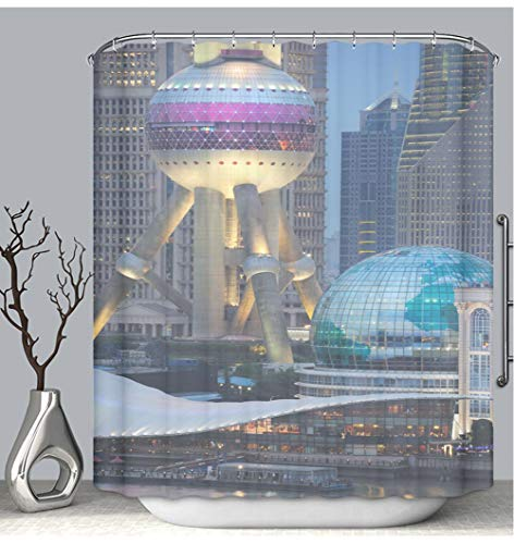 - BEICICI Color Shower Curtain Liner Anti-Mildew Antibacterial Oriental Pearl Tower Shanghai Skyline China XXXL Custom Shower Curtain Bathtub Bathroom Accessories 72W×87Linch