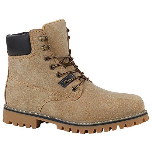 Stiefelparadies Herren Worker Boots Profilsohle Flandell Creme Amares