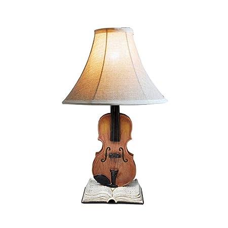 LYYJIAJU Lámpara de mesa American Village violín Resina lámpara de ...