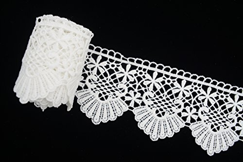 White Lace Trim Guipure Wide Floral for Wedding Party, Garment Design, DIY Sewing 2-4/5'' by 5 Yard by Cozy