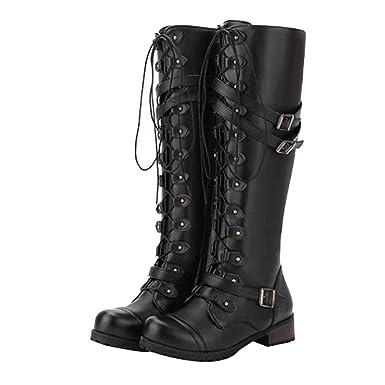 Binmer Women Steampunk Gothic Vintage Style Retro Punk Buckle Military Combat Boots (35, Black