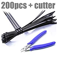 "200pcs 4"" Zip Ties Black with Cutting Pliers Cable Ties Black Zip Ties Nylon Heavy Duty Tie Wraps Self-Locking UV"