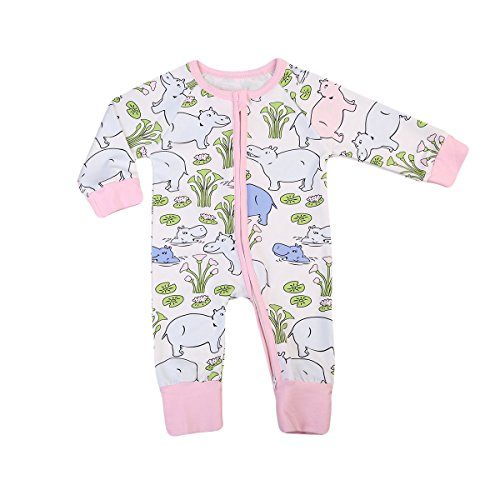 ITFABS Baby Boy Girl Pajamas Cotton Cute Seashells Print With Ziper Footie Clothes (90(12-18 Months), White Gree)