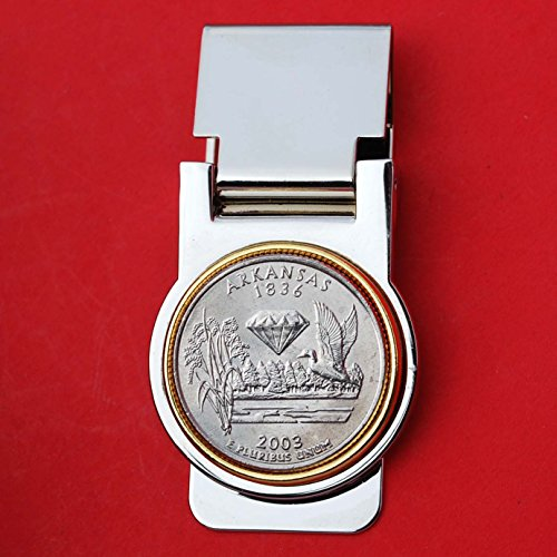 US 2003 Arkansas State Quarter Coin Hinged Money Clip NEW