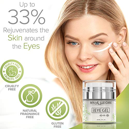 51vg%2BP4H4tL - Eye Gel with Hyaluronic Acid, Reduce Dark Circles, Puffiness and Eye Bags. Anti Wrinkle Under Eye Treatment, Hydrating Gel with Collagen, Aloe and Vitamin E, Anti Aging Cream for Men & Women