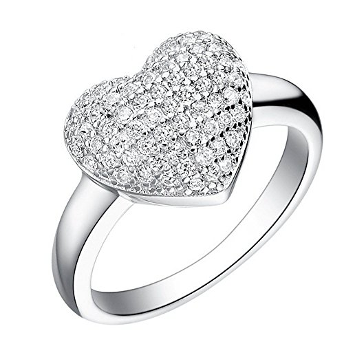 Uloveido Love Heart Jewelry Micro Pave Silver Plated Rings for Women Wedding Jewellery Acessorios J070-Silver-White-9 (Micro Pave Heart)