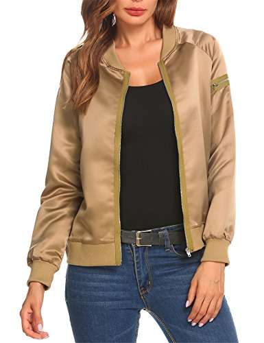 Gold Womens Jacket (Mofavor Women's Lightweight Classic Biker Quilted Bomber Jacket Short Coat, Khaki, Medium)