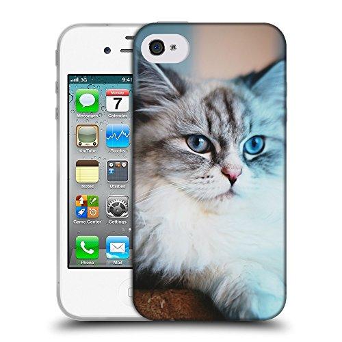 Just Phone Cases Coque de Protection TPU Silicone Case pour // V00004255 Allongé blanc et gris chat // Apple iPhone 4 4S 4G
