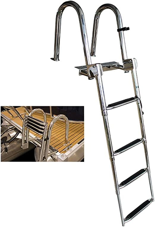 HYDT Escalera telescópica de Acero Inoxidable de 4 peldaños Escalera para Barco con reposabrazos, para Piscina de Barcos Marinos, 116 cm / 45,6