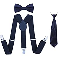 Kids Suspender Bowtie Necktie Sets - Adjustable Elastic Classic Accessory Sets for Boys & Girls