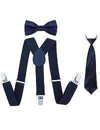 Boys Suspender Bowtie Necktie Sets - Adjustable Elastic Classic Accessory Sets for Boys & Girls (Navy Blue)