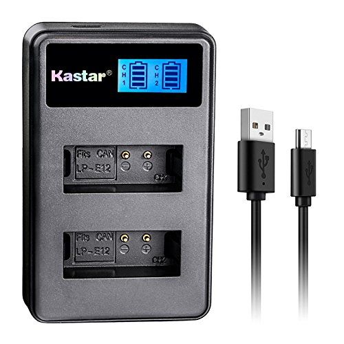 Kastar LCD Dual Slim Charger for Canon LP-E12 and Canon EOS 100D, EOS Rebel SL1, EOS M Camera System & Canon LPE12 Grip