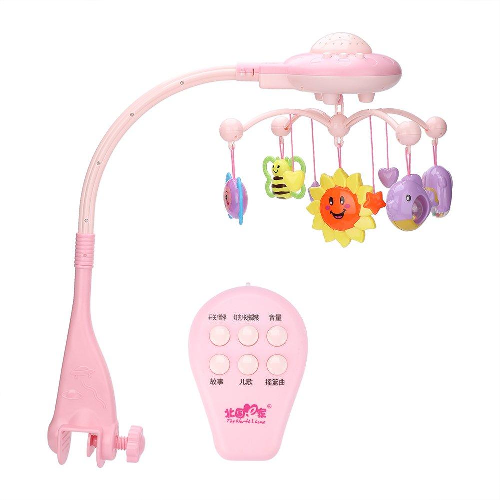 Fdit Baby Crib Mobile Musicale Lampeggiante Bed Campana Giocattoli Animal Sonagli Anello a Forma di Stella Che Ruota Staffa Proiezione Regalo di Natale Appena Nato (Blue)