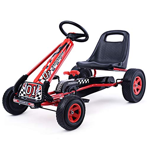 (Costzon Go Kart, 4 Wheel Pedal Powered Ride On, Outdoor Racer with Adjustable Seat, Rubber Wheels, Brake, Ride On Pedal Car for Boys, Girls (Red))