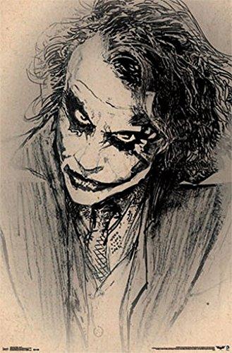 (BATMAN DARK KNIGHT JOKER POSTER Amazing Sketch - Heath Ledger RARE HOT NEW 22x34)