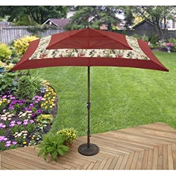 Better Homes and Gardens Sarona Outdoor Umbrella, Red, Rust-Proof Aluminum Frame, UV-Treated