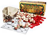 Russian Bingo Game - Russkoe Lotto with Wooden Barrels, Jute Sack, plastic Counters