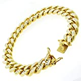 .925 Sterling Silver Mens 12mm Gold Plated Solid Miami Cuban Diamond Cut Pave Bracelet Chains 9""