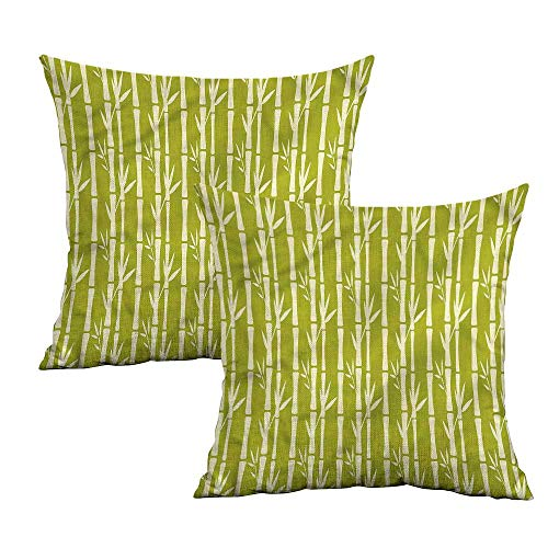 Khaki home Bamboo Square Custom Pillowcase Abstract Stems with Leaves Square Throw Pillow Covers Cushion Cases Pillowcases for Sofa Bedroom Car W 14