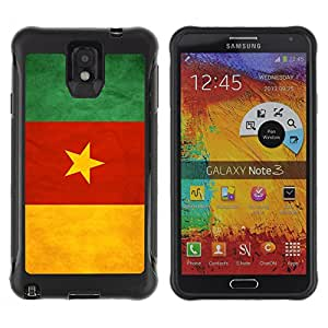 iDesign Rugged Armor Slim Protection Case Cover - Cameroon Grunge Flag - Samsung Note 3