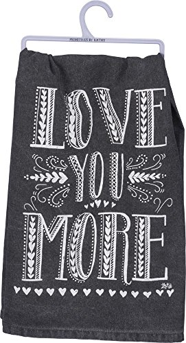 Primitives by Kathy 33355 Cotton Dish towel, love you more