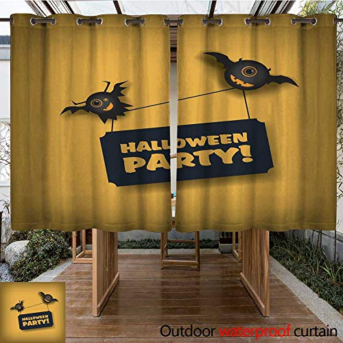 RenteriaDecor Outdoor Balcony Privacy Curtain Halloween Party Invitation Template Holiday Celebration Poster or Card Adorable W84 x L72 -